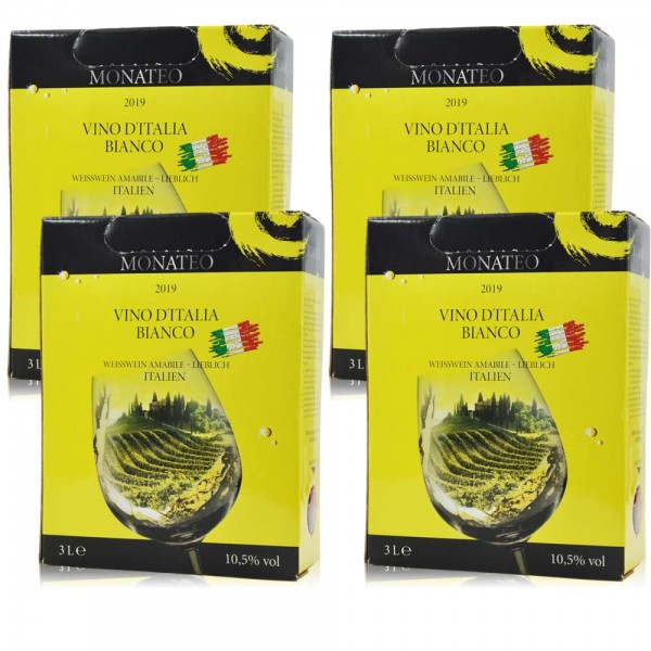 4 x 3,0 l Monateo Vino d'Italia Bianco 2019, Weisswein lieblich