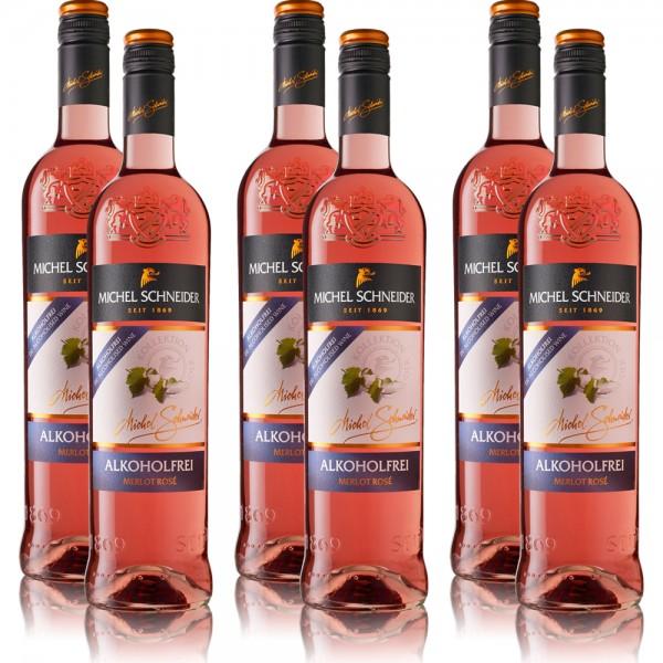 6 Flaschen Michel Schneider Merlot Rosé, alkoholfreier Wein