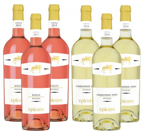 Epicuro Weiß- und Roséweine 3x Chardonnay & 3x Rosato IGT, 2015, á 0,75 l