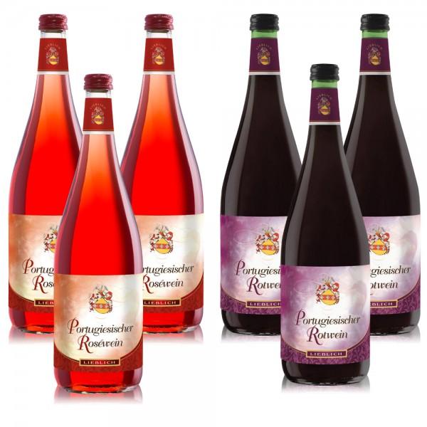 6 Flaschen P. Mertes Portugiesischer Rosé und Rot Wein, lieblich