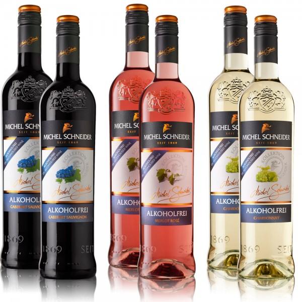 6 Flaschen Michel Schneider Rosé-, Weiß-, Rotwein Mischpaket, alkoholfreie Weine