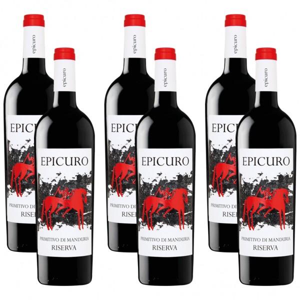 6 Flaschen Epicuro Primitivo di Manduria Riserva, 2014, 0,75l