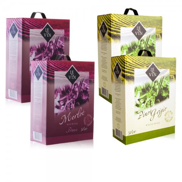 2x 3,0 L Le Vin Merlot + 2x 3,0 L Le Vin Pinot Grigio, trocken, Bag-in-Box