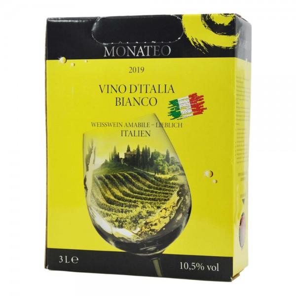 Monateo Vino d'Italia Bianco 2019, Weisswein lieblich, 3,0 l Bag-in-Box