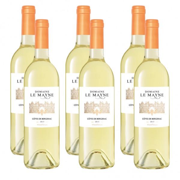 6 Flaschen Domaine Le Mayne Moelleux Côtes de Bergerac, lieblich, 2015